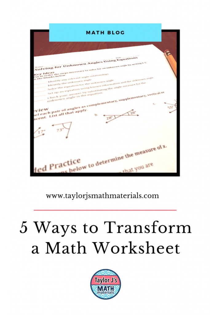 transforming a worksheet in the classroom