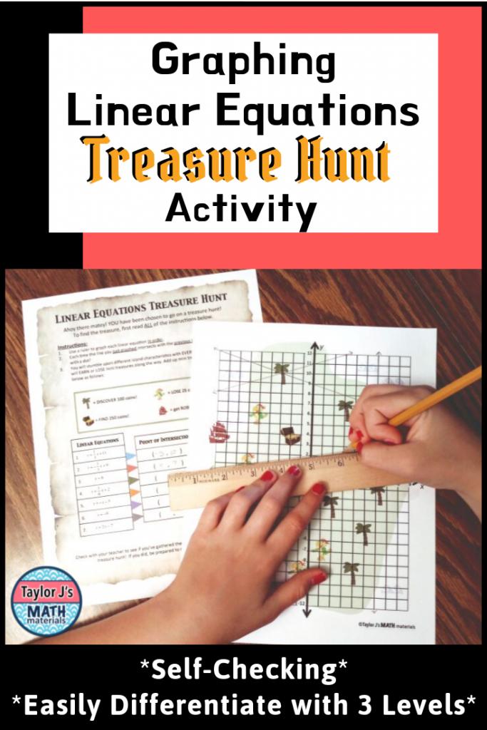 linear equations treasure hunt for 8th grade math class1