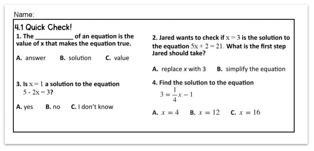 example of a quick check assessment for a flipped math classroom at the 8th grade level