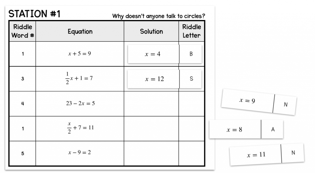 example of an activity for a flipped math classroom at the 8th grade level