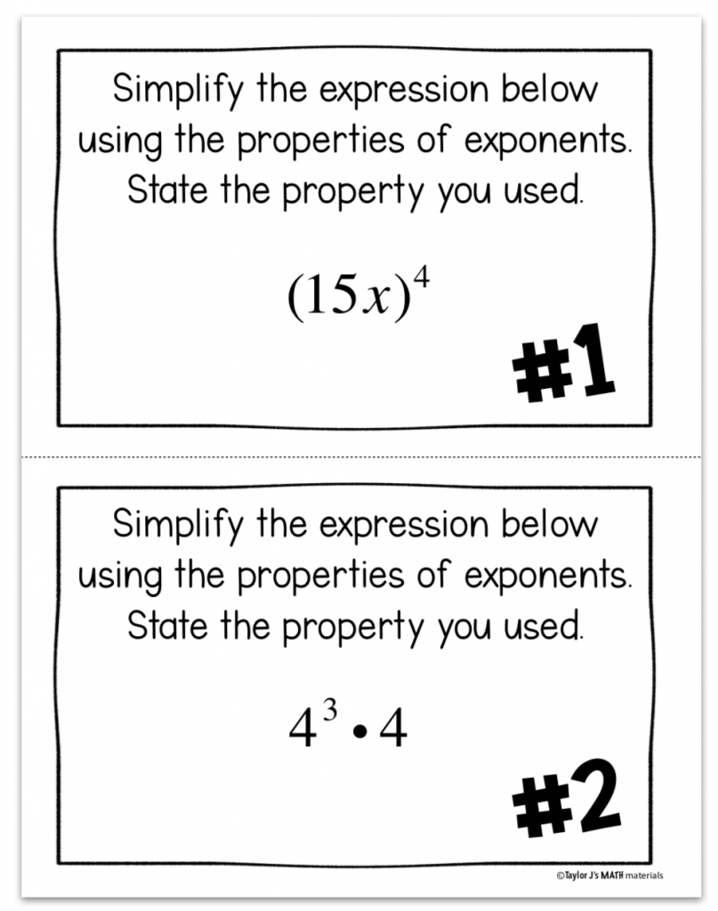 example of a properties of exponents activity in the math classroom