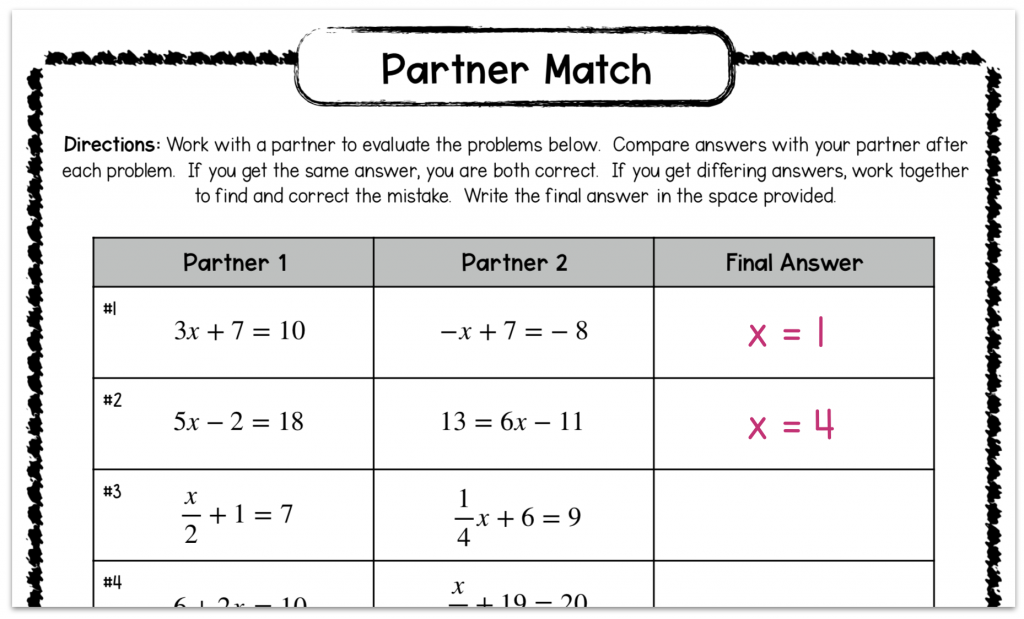 example of a partner match activity for solving two step equations in the math classroom