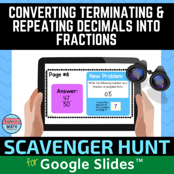 converting decimals to fractions digital distance learning activity for Google Slides
