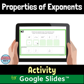 properties of exponents digital distance learning activity for Google Slides