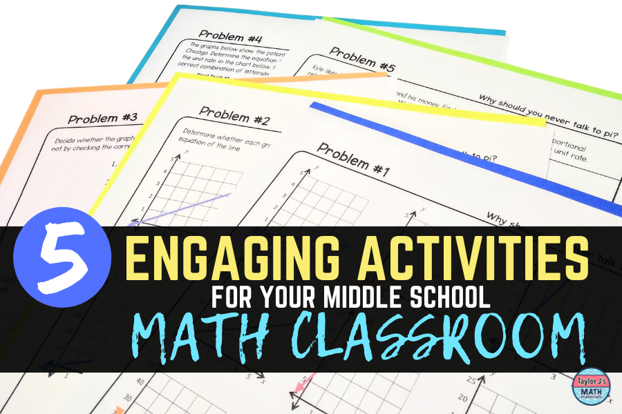 the title of the blog post is five engaging activities for the middle school math classroom