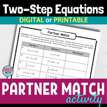 button to view the solving two step equations partner match activity for 8th grade