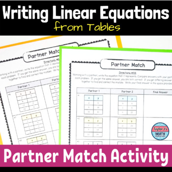 button to view the writing linear equations in slope intercept form partner match activity for 8th grade math