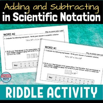 button to view the adding and subtracting expressions in scientific notation riddle activity for middle school