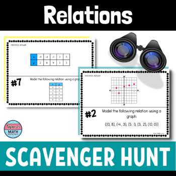 button to view the an introduction to functions scavenger hunt activity for 7th grade or 8th grade