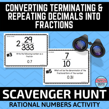 button to view the converting terminating and repeating decimals into fractions scavenger hunt activity