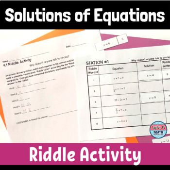button to view the finding the solutions of equations when given a value for x riddle activity for 8th grade