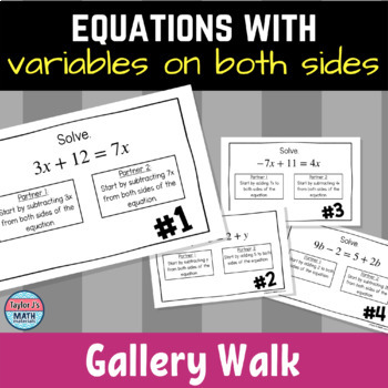 button to view the solving equations with variables on both sides gallery walk activity for 8th grade