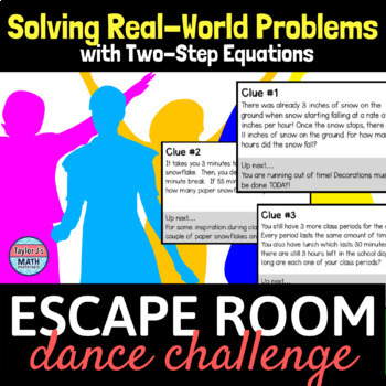 button to view the solving real world problems using two step equations escape room activity for 8th grade